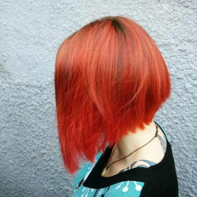 Choppy Red Orange Bob