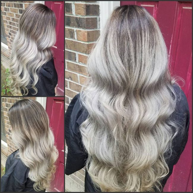 Curly Silver Blonde Sombré