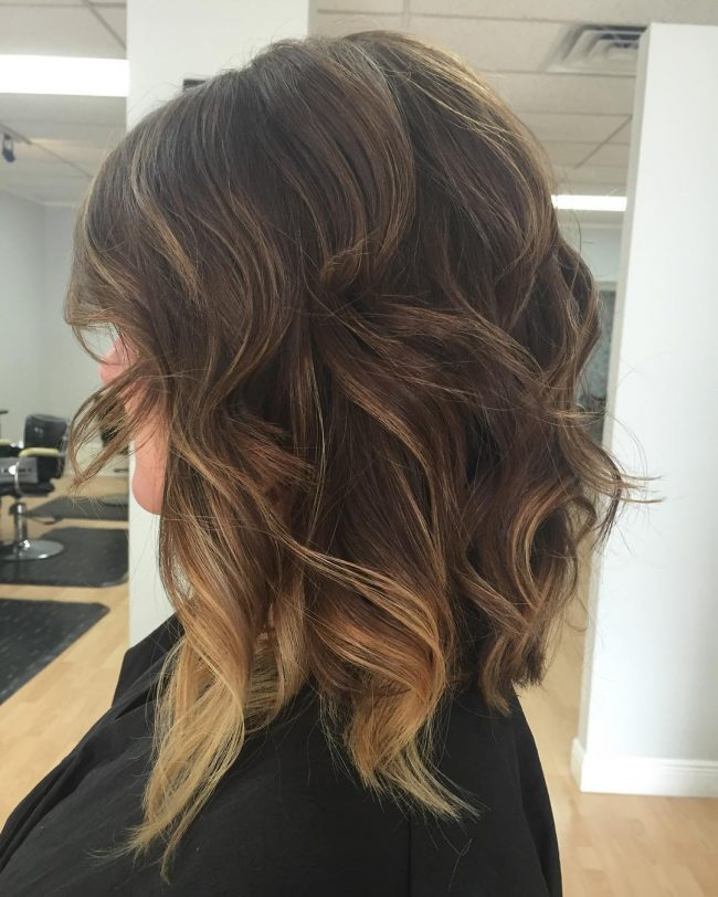 Curly and Wavy Balayage Lob