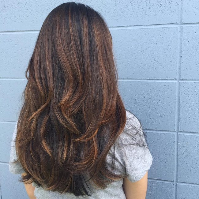 Dark Brown and Caramel Balayage
