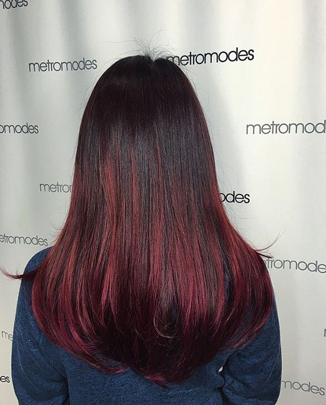Ombre hair from brown to red