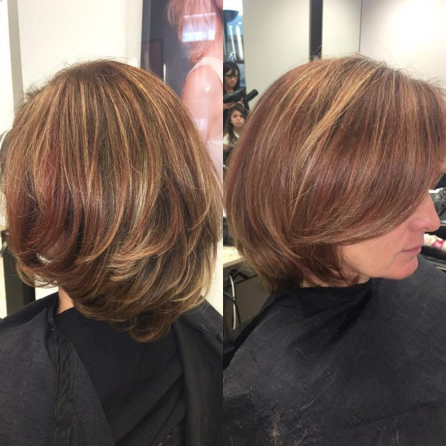 Deep Red Highlight on Brown Hair