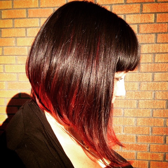Edgy A-Line Bob in Wine