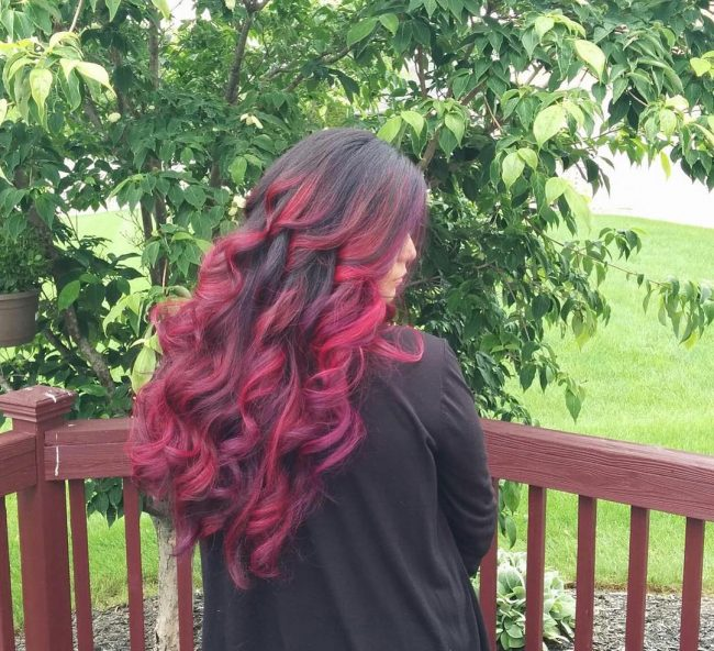 Fiery Cherry Red Ombre