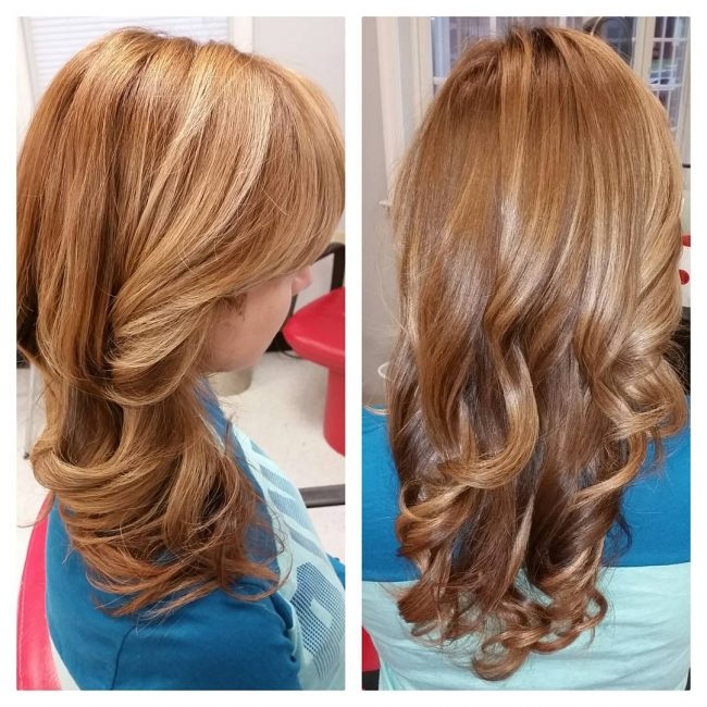 Fun Balayage with Caramel Highlights