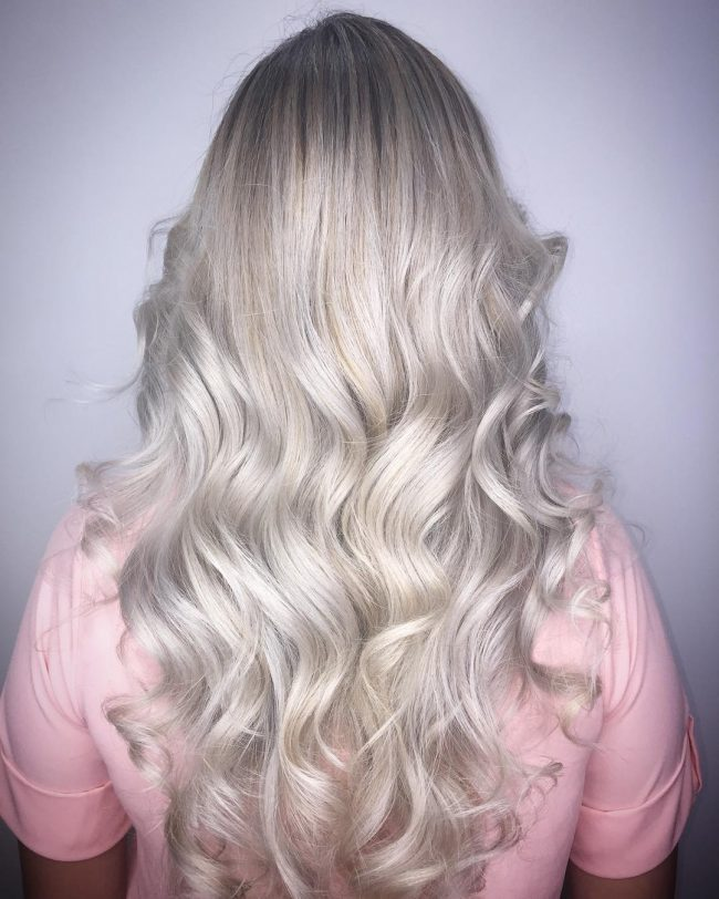 Icy Blonde Balayage Ombré for Curly Hair