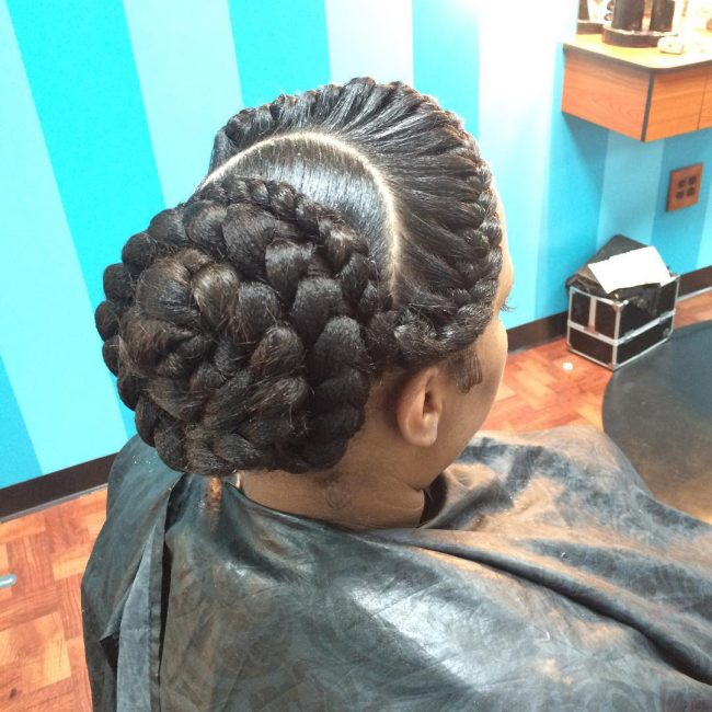 Intricate Curved Braids with a Bun