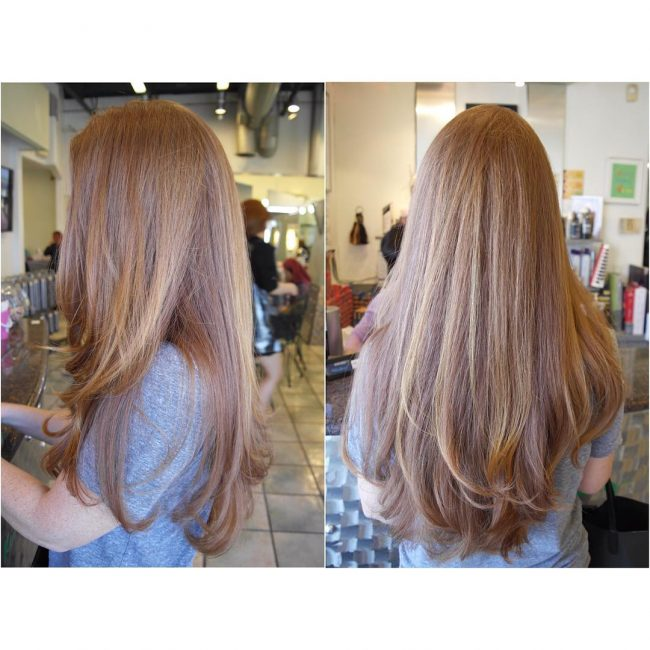 Light Brown Blowout with a Hint of Pink