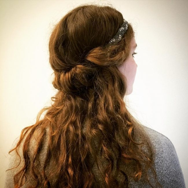 Loosely Tucked Curls with a Headband
