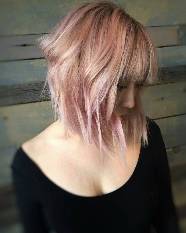 Lovey Bangs with Hints of Pink and Rose