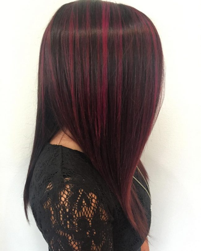 50 awesome maroon hair color ideas become a headturner 21 merlot highlights on black base pmusecretfo Gallery