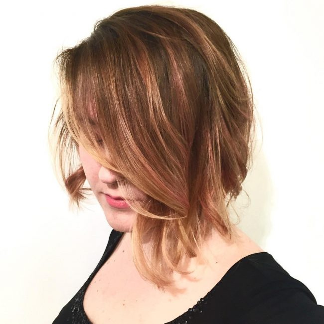 Rose Gold Balayage Bob