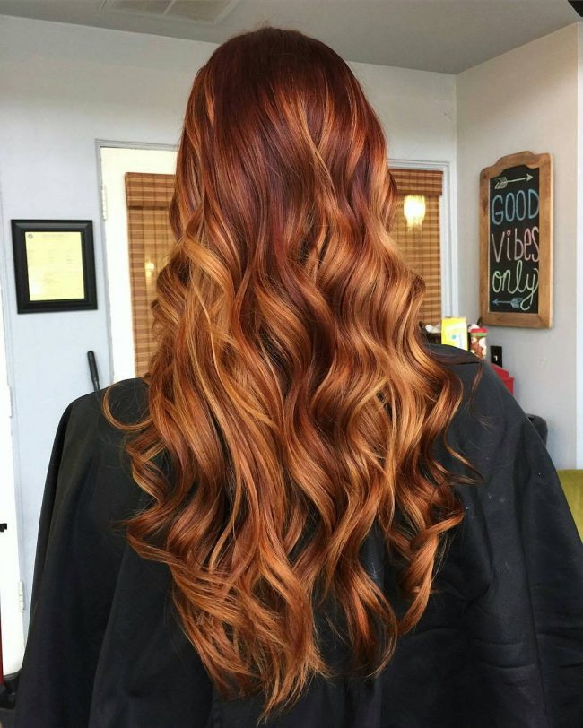 Sassy and Full Copper Red Balayage