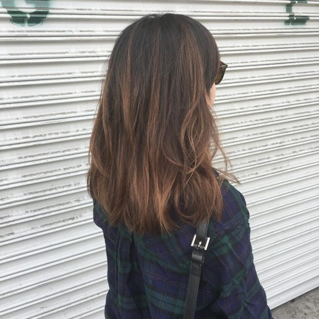Shimmering Brunette Highlights