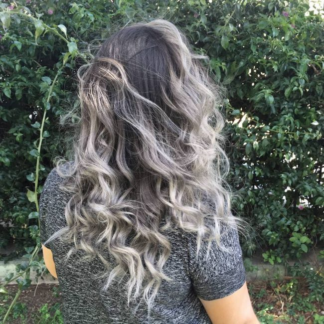 Silver Ombré for Curly Hair