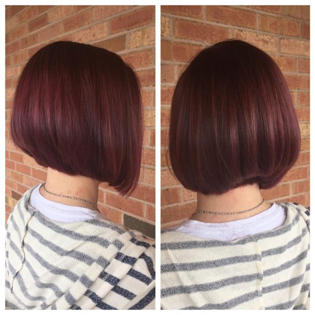 Stacked Bob with Tapered Neck Line