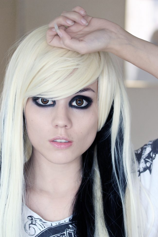 Blonde Emo with Black Peek-a-Boo