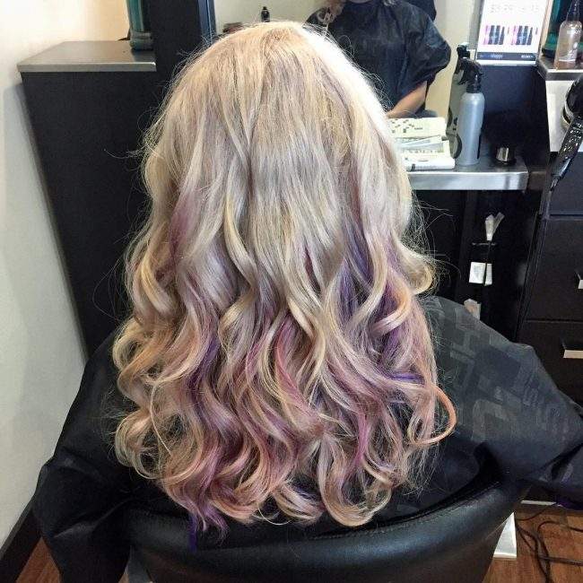 Blonde Ombre With Purple Pops
