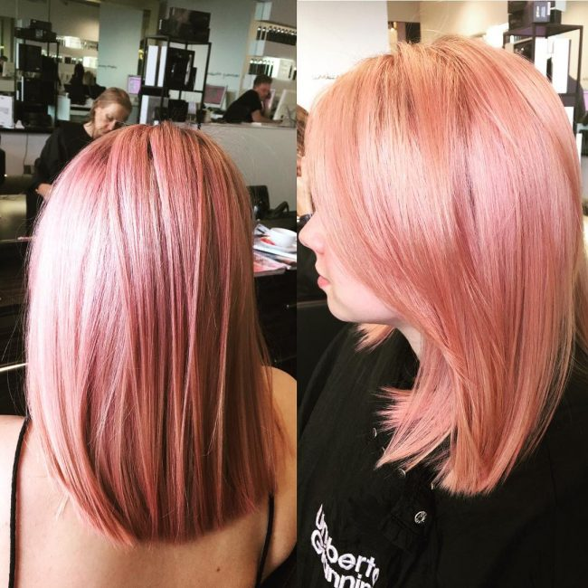 Blunt and Smooth Pink Bangs