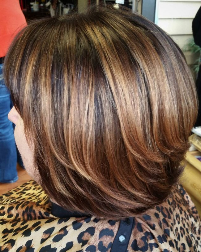 Caramel Highlights for Stacked Bob