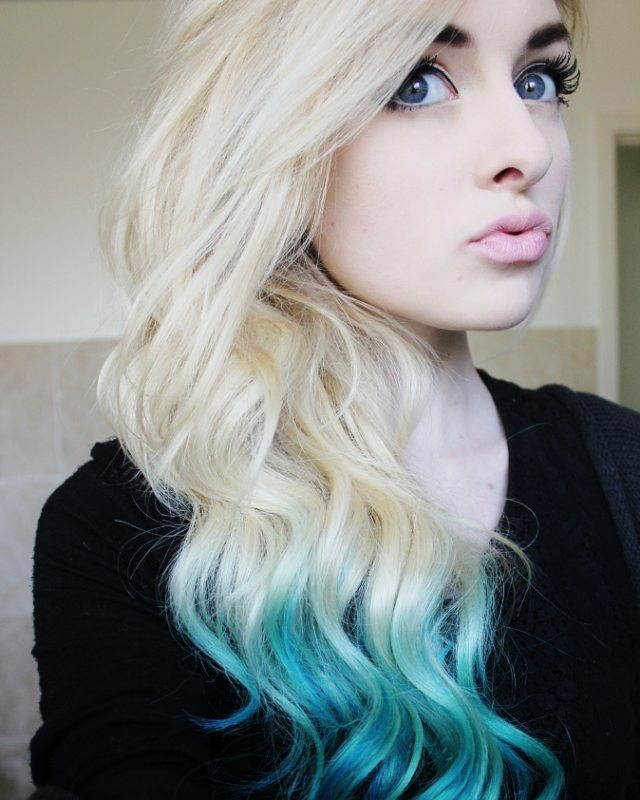 Chic Blonde to Blue Ombre Locks