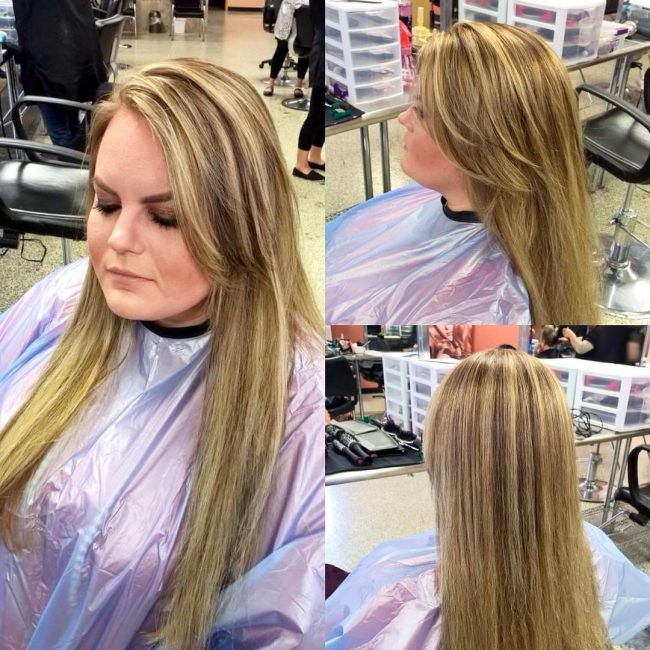 Chunky Highlights on Long Tresses