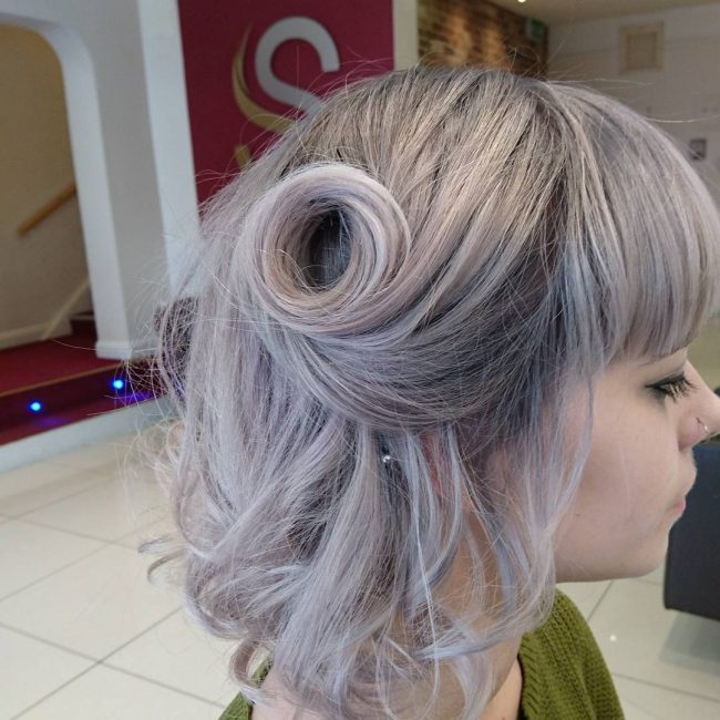 Dark Gray to Violet and Silver Ombre