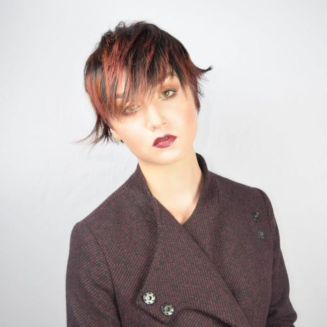 Feathery Red Pixie with Bangs