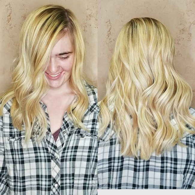 Fine Blonde Locks with Dark Roots