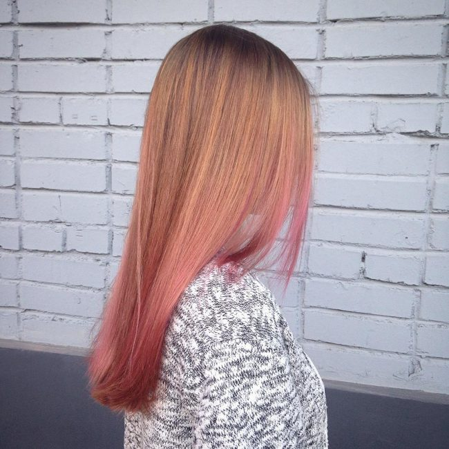 Golden Blonde to Pink Ombre