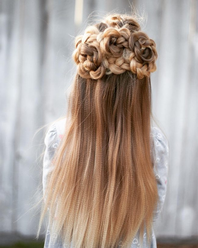 Half Up Flower Braid Style