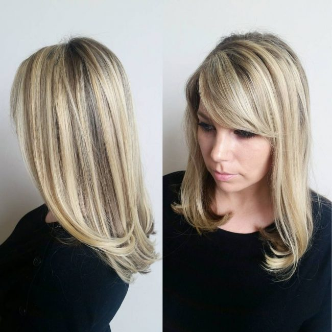 Highlighted Haircut with Bangs