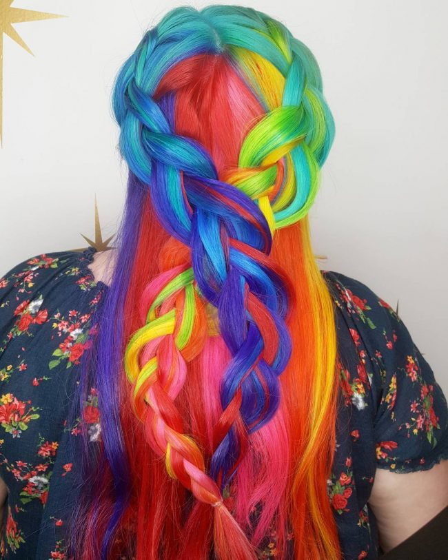 Intricate Rainbow Pastel Braids