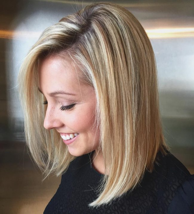 Long Bob with a Dimensional Blonde Hue