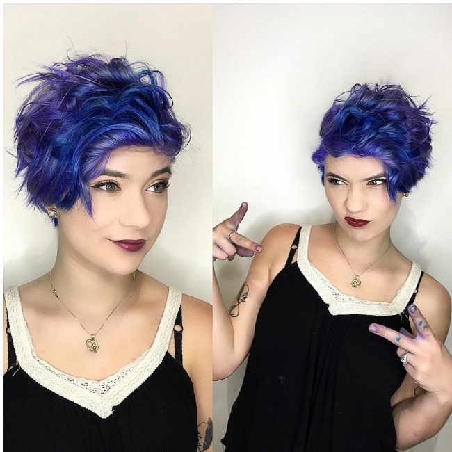 Messy Purple and Blur Pastel Pixie