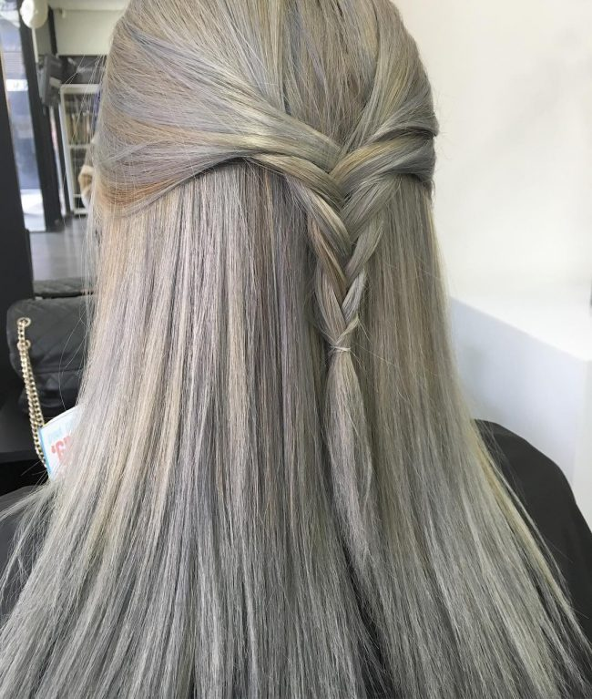 Metallic Silver Gray with a Braid