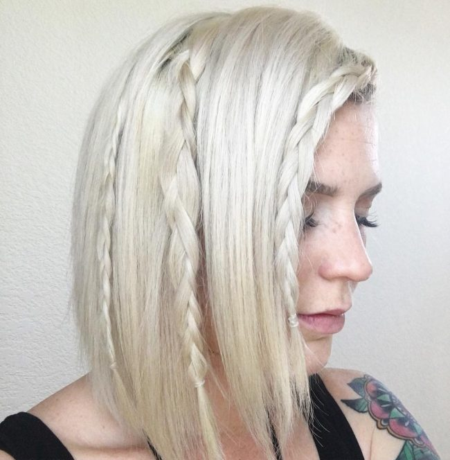 Nearly White Blonde with Plait Detail