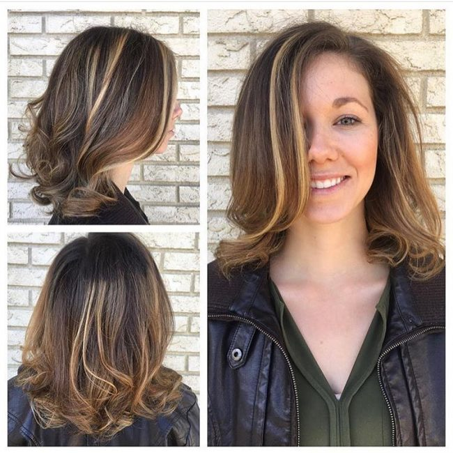 Partial Light Brown Highlights on Honey Locks