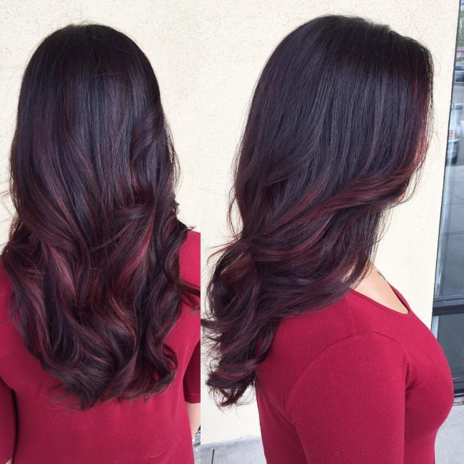 Balayage With Burgundy