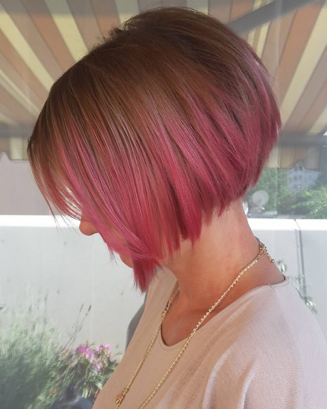 Pink Ombre for Short Bob Cut