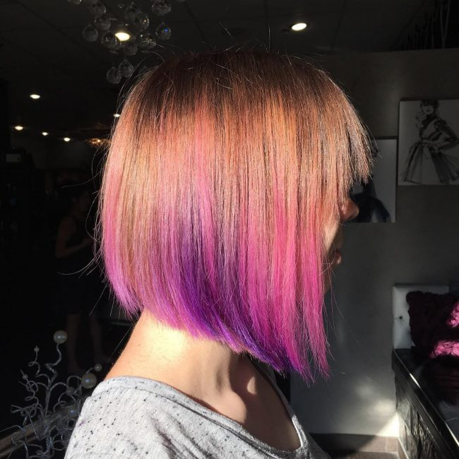 Pink Ombre with Purple Peekaboo Highlights