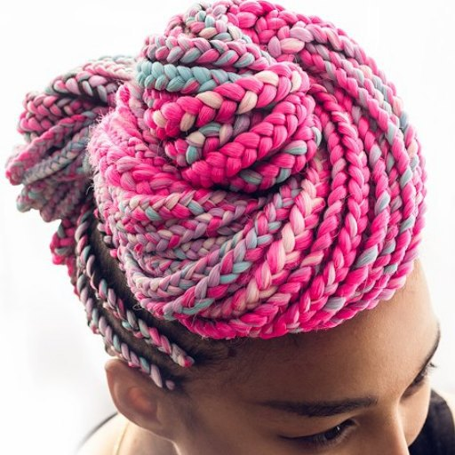 Pink and Blue Double Buns