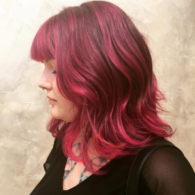 Pink for Long Bob Cut