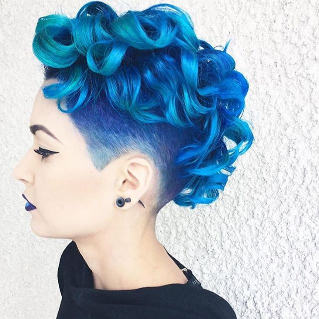 Pixie Blue Curls with Undercut