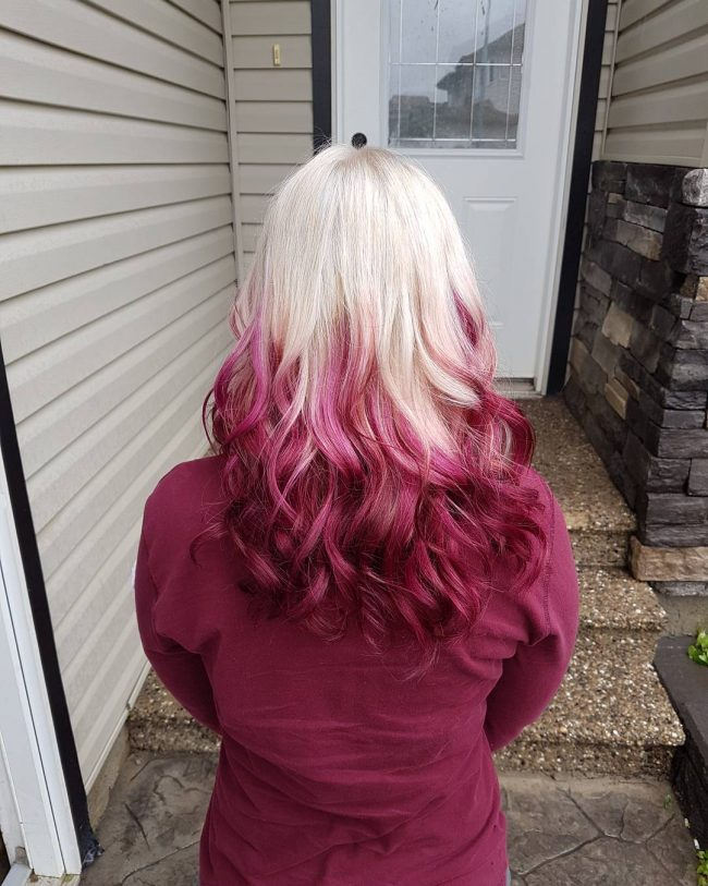 Platinum Blonde to Pink Red Ombre