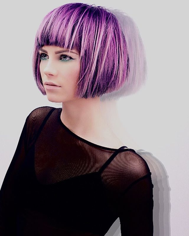 Precise Bob with Pastel Purple Streaks