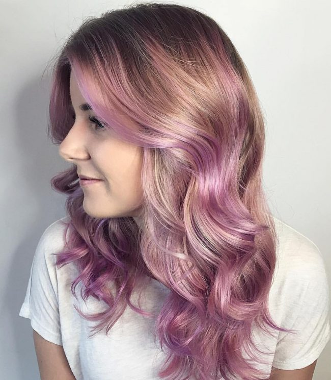 Purple Pastel Ombre with Balayage Highlights