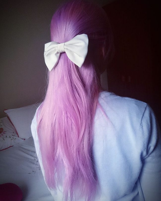 Purple Unicorn Hair with a Bow