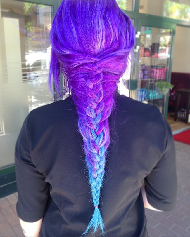 Purple to Blue Ombre French Braid