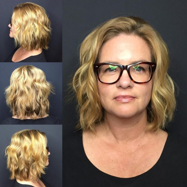 Razor Cut Bob with Beachy Waves